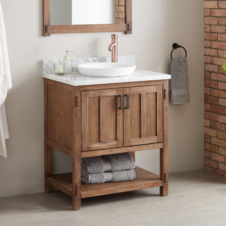 30 Morris Console Vanity Semi Recessed Sink Wood Signature Hardware Single Bathroom Vanity Vessel Sink Vanity Small Bathroom