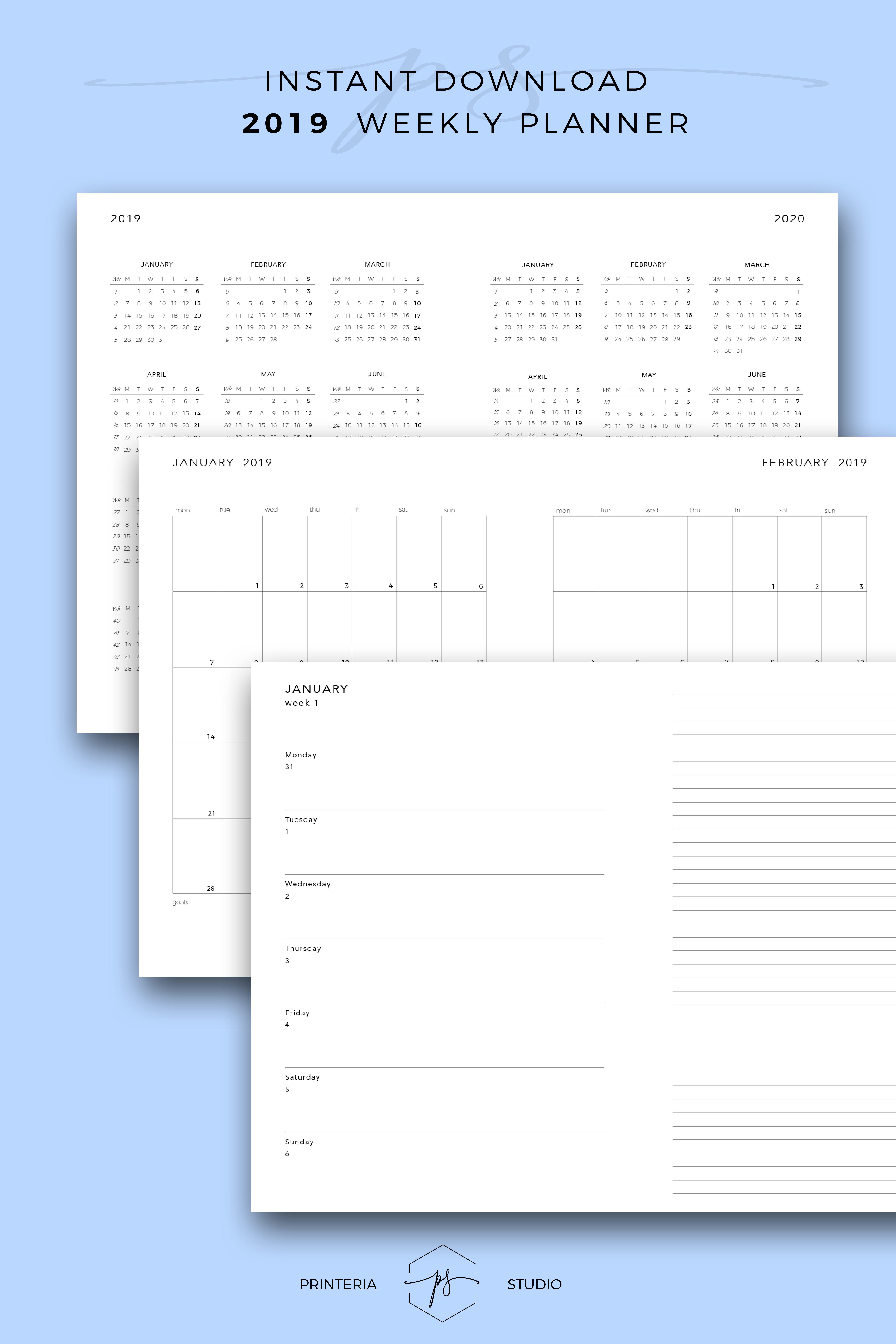 Idee Calendario.2019 Weekly Planner 2019 Calendar Template Weekly Calendar