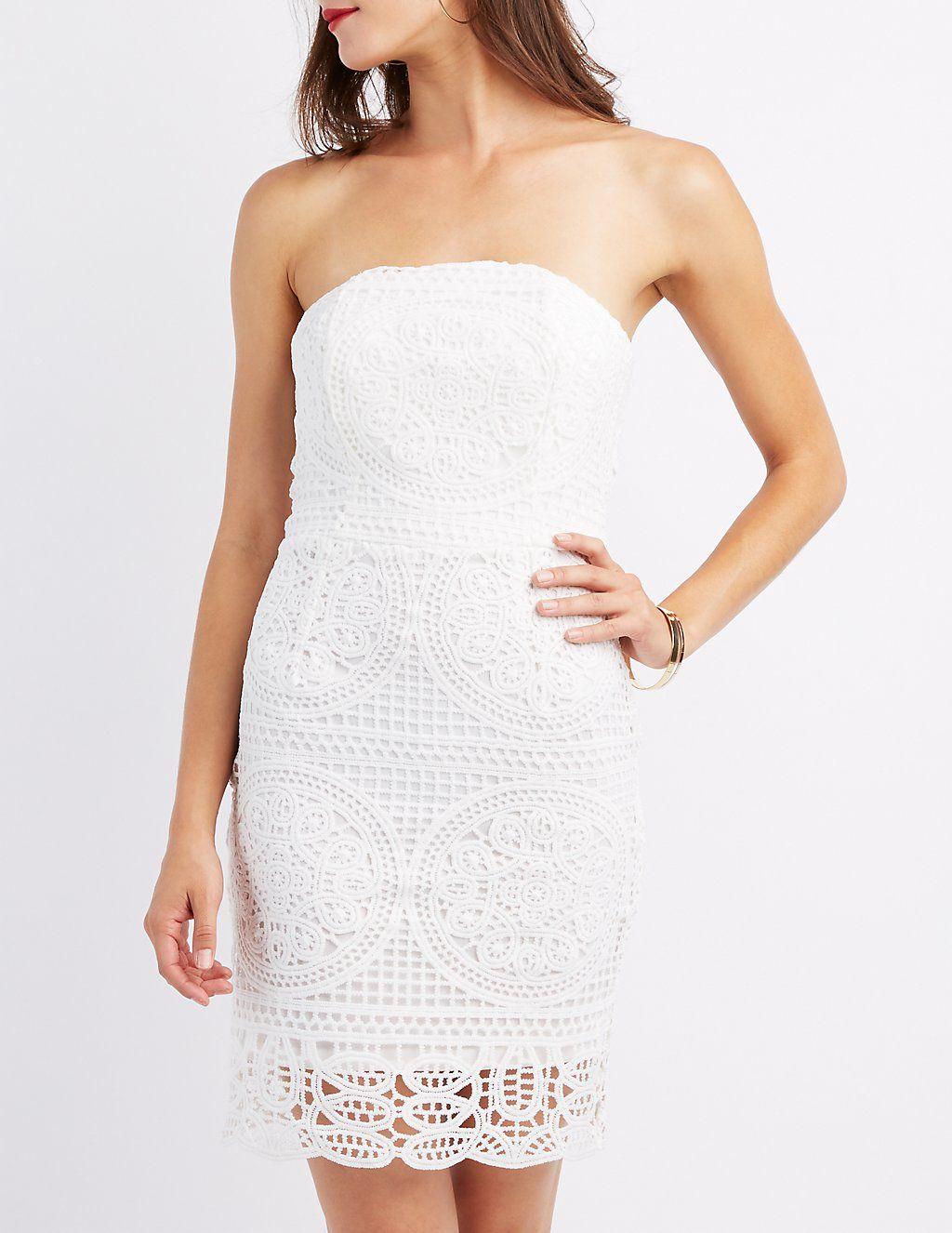 Crochet Strapless Bodycon Dress   Charlotte Russe   Dresses   Pinterest
