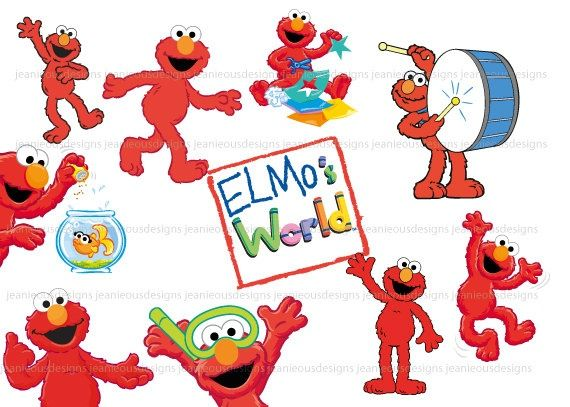 Sesame Street Elmo Clip Art By JeanieousDesigns On Etsy