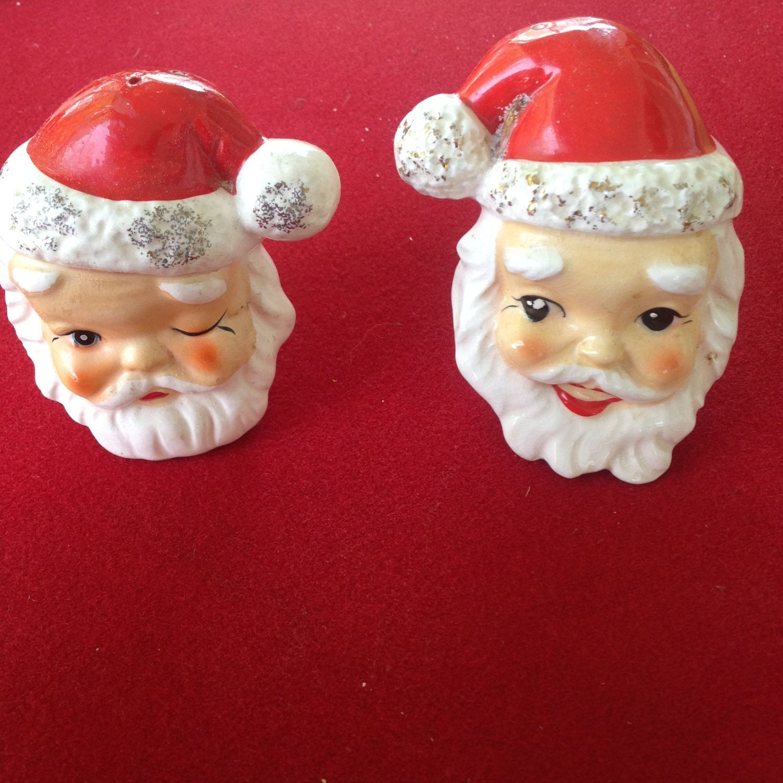 Santa head salt and pepper shakers