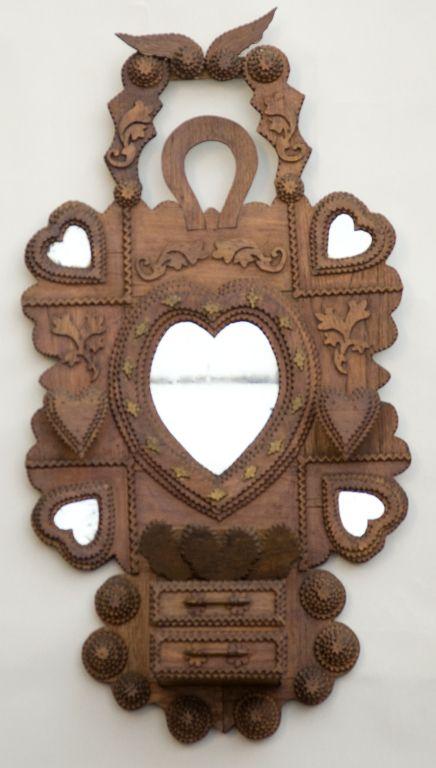 Tramp Art Wall Hanging Shelf Heart Mirrors And Wall