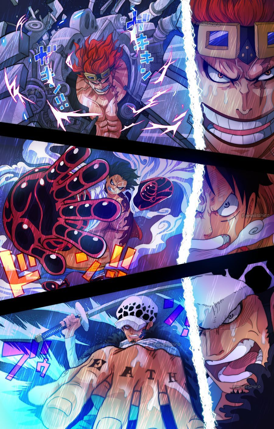 Luffy Law and Kid attacking Beast Pirates en 2020 | Fond d'ecran dessin, Dessin one piece, One ...