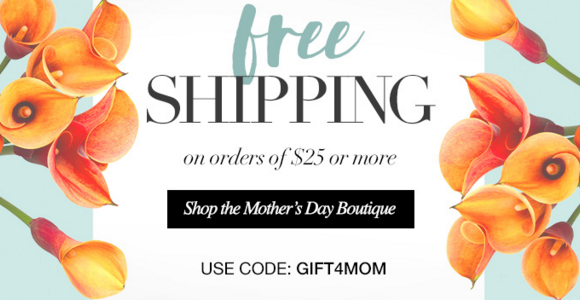 FREE SHIPPING for Mothers Day Gifts on Order $25+! Use Code:GIFT4MOM *Some Exclusions Apply Shop PJ's Avon Online at https://www.avon.com/brochure/?s=ShopBroch&c=repPWP&repid=3195905&tntexp=pwp-b&mboxSession=1461882982118-63081 Ends Midnight 4/28/2016. Direct Delivery Only.
