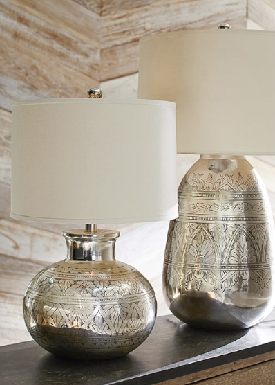 The antique silver finish on this lighting is applied by hand to the antique silver finish on this lighting is applied by hand to reveal the finely etched floral patterns our lamp base brings shine and global chic to a mozeypictures
