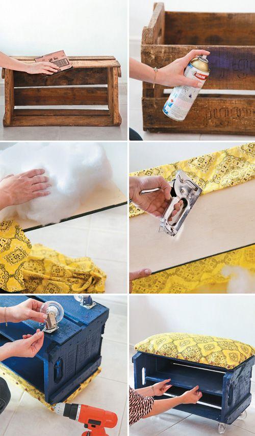 D.I.Y: Como montar uma sapateira/puff com um caixote de feira ...
