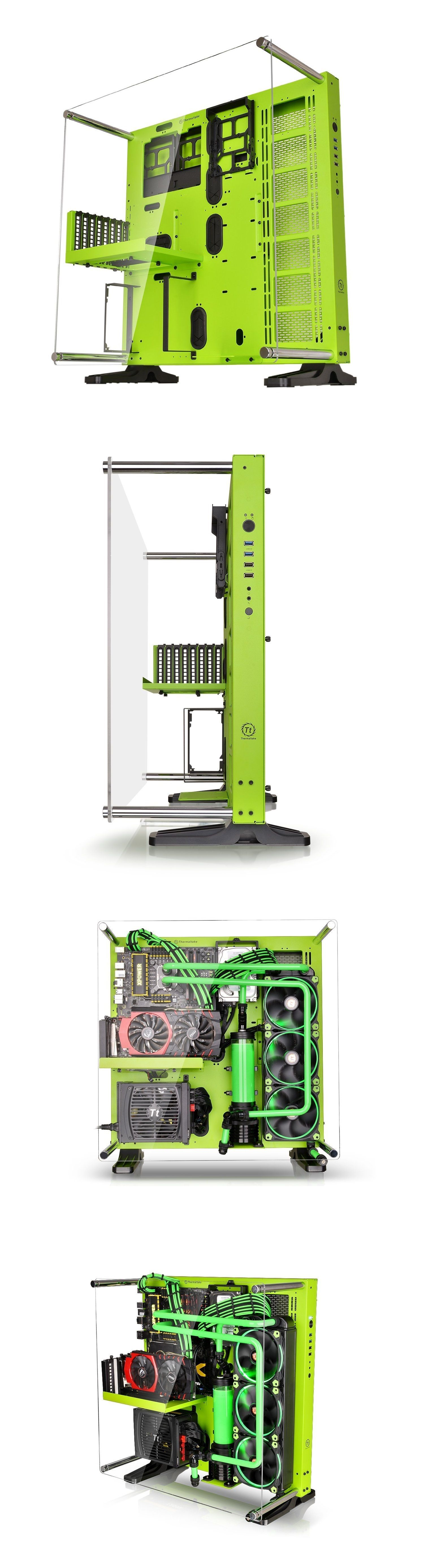 Thermaltake CORE P5 Green Edition ATX Open Frame Mid Tower Liquid Cooling\u2026