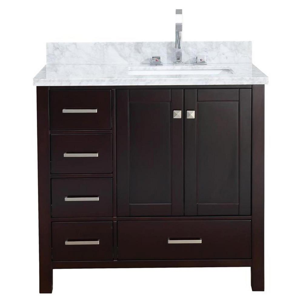 Ariel Cambridge 37 In Bath Vanity In Espresso With Marble Vanity