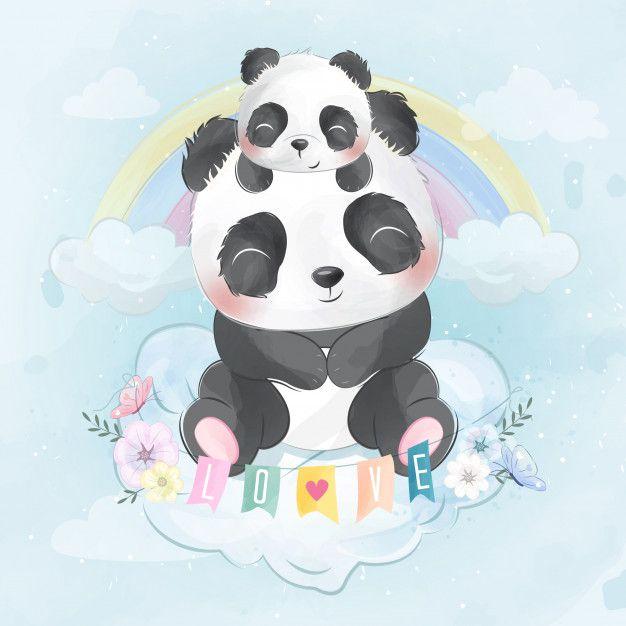 Cute panda with baby panda sitting in a ...   Premium Vector #Freepik #vector #watercolor