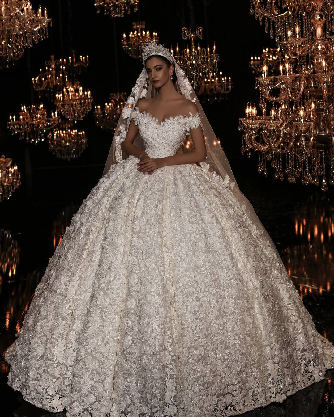 Beautiful rose off the shoulder wedding dress wedding dresses in