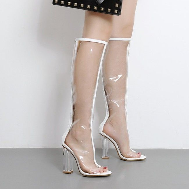 a19e06b9e5 White Knee High Transparent Perspex Heel Open Toe Boots #SS17 @  ShanghaiTrends.co.uk