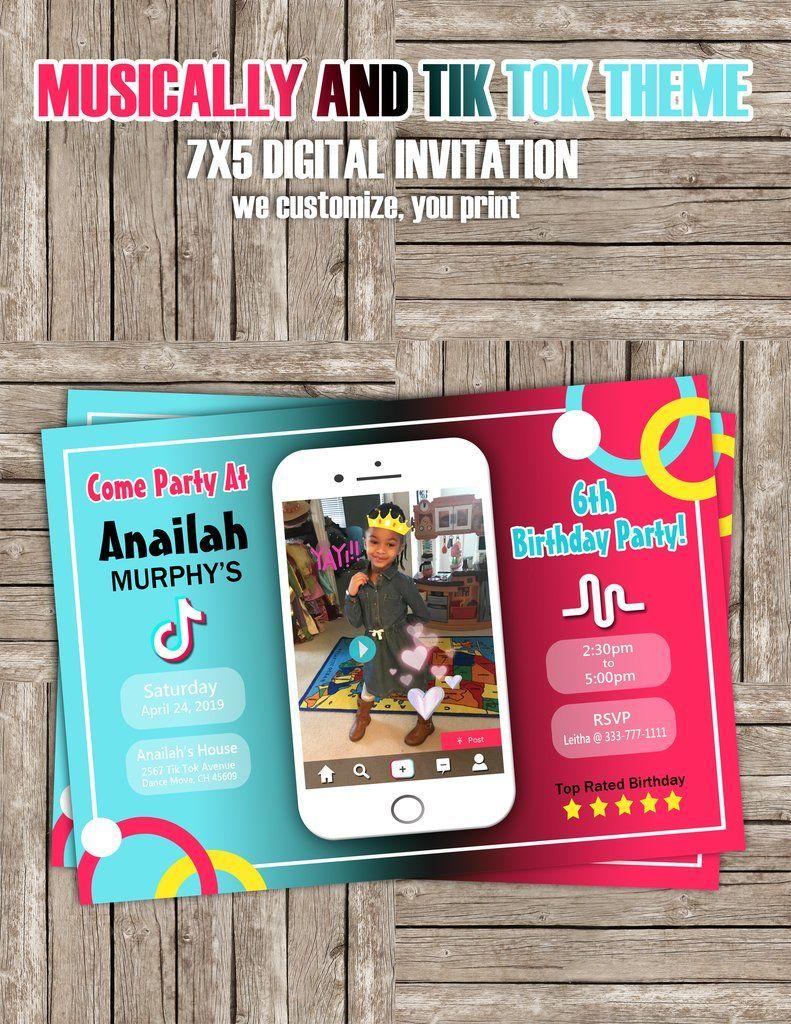 Tiktok And Musical Ly Theme Invitation Digital Invitations Invitations Birthday Party Set