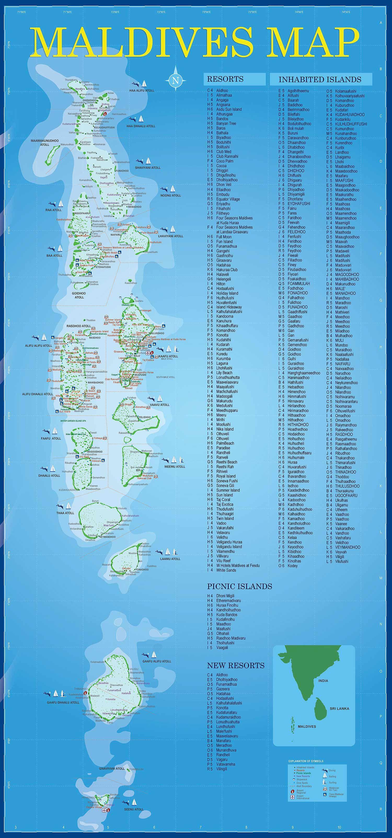 Map Of Maldives And It S Resorts Reisen Bilder