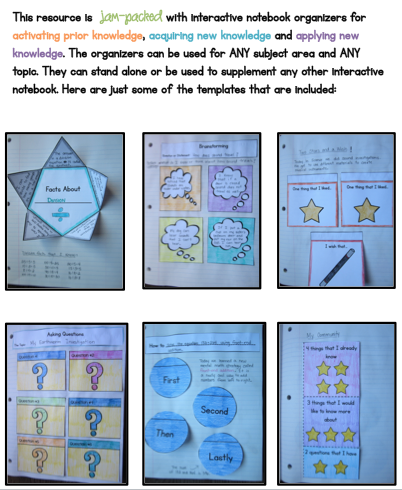 Interactive Notebook templates for activating, acquiring and applying knowledge!