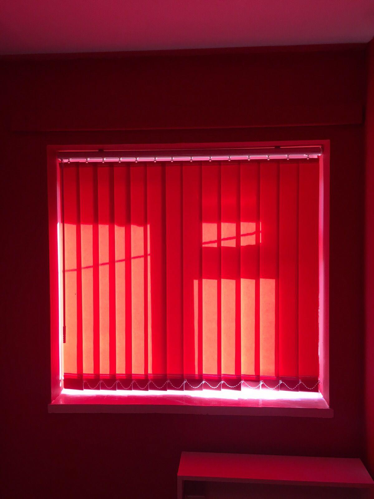 Bold red vertical blinds. Stafford. http://blindsstafford.co.uk
