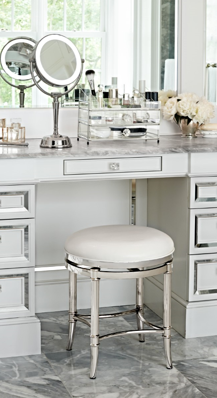 low back vanity chair. Freshen up in your master bath with service from our Bailey Vanity Stool