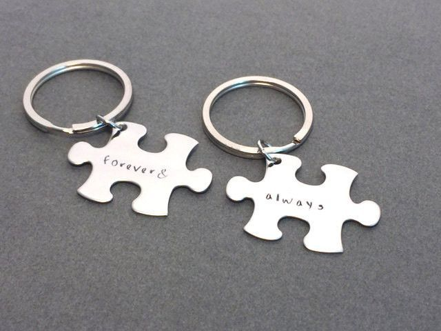 Always forever keychains puzzle piece couples keychains