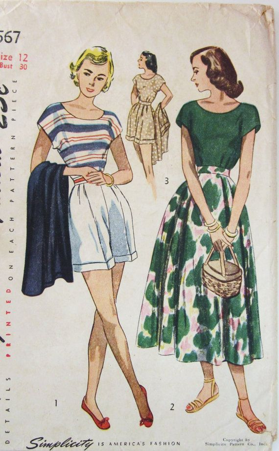 40s Simplicity 2567 Convertible Playsuit  Shorts by SloCrafty, $20.95
