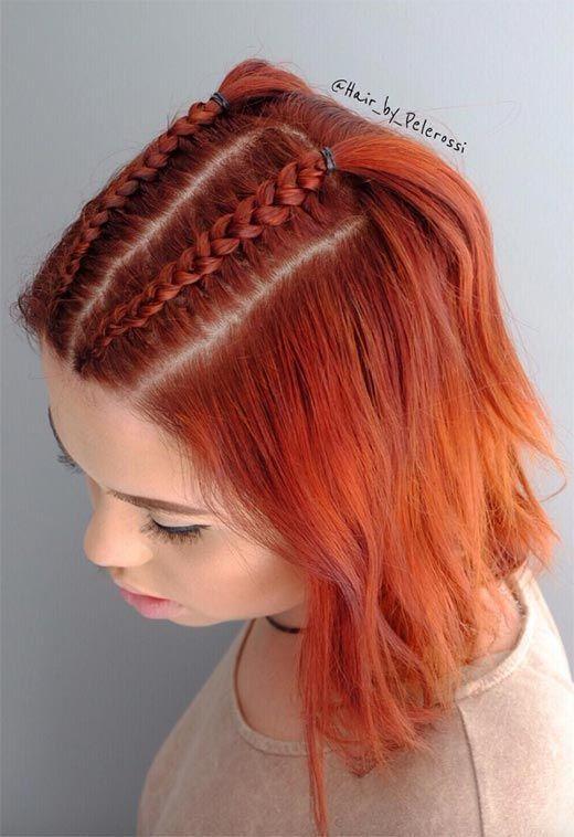 51 Cute braids for short hair: Short braided hairstyles for women #f … #women #styles #braided #short