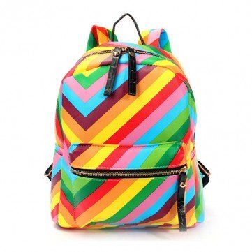 rainbow backpack| discount: 20off1455  kawaii harajuku pop kei space grunge 90s fachin rainbow backpack bag accessories under20 under30 newchic discount