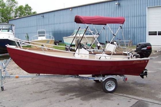 New Blue Fin Boats Dory Skiff Boat With Bimini Top Shown - Blue fin boat decalspainted with decals bluefin boats