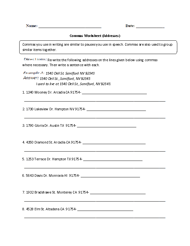 Interjections Commas Worksheet Great English Tools – Interjection Worksheet