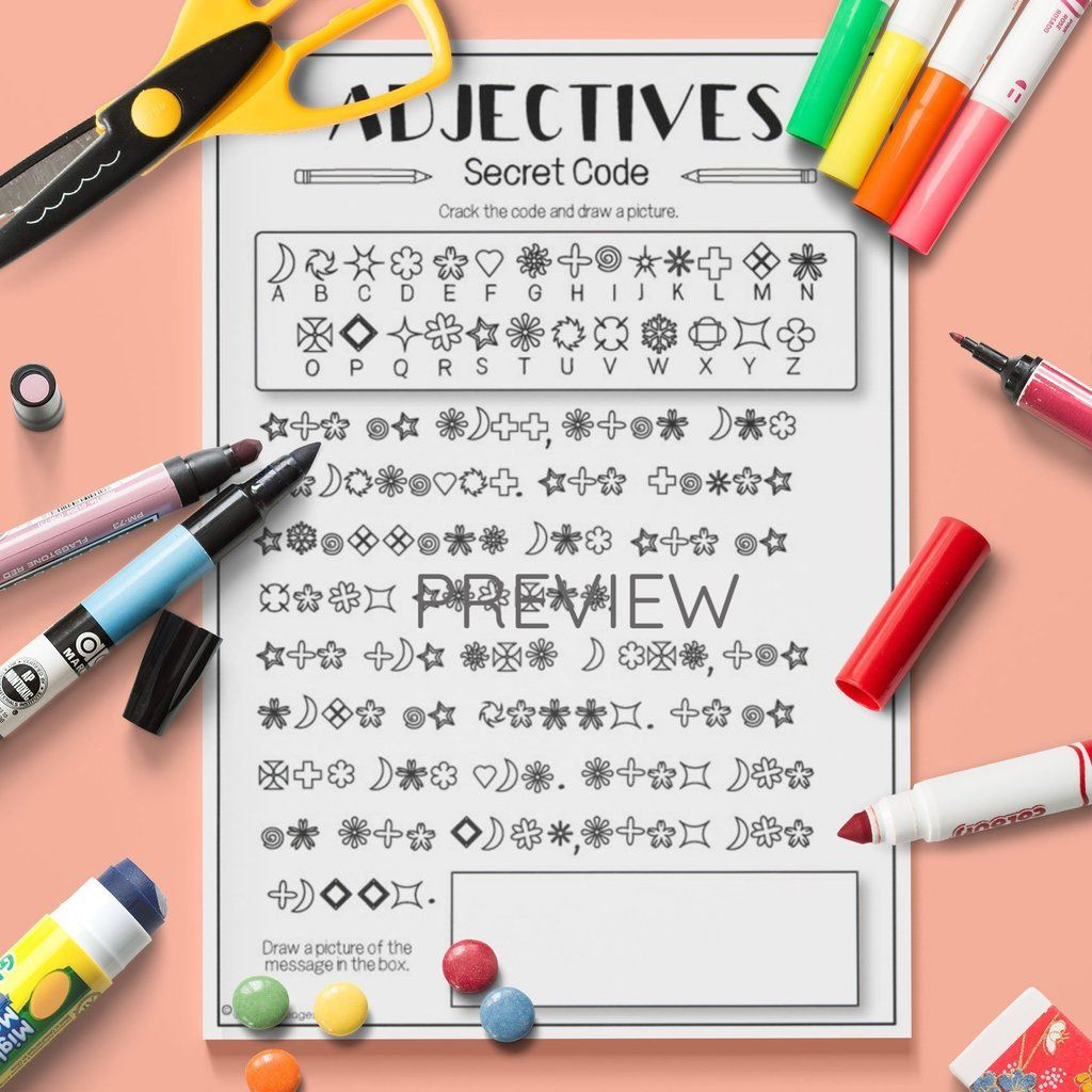 Adjectives Secret Code