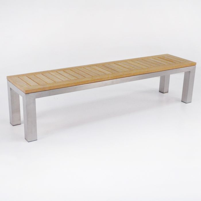 A Backless Stainless Steel Bench With A Grade Teak Is A Beautiful Combination For Any Outdoor Or Indoor E Teak Bench Teak Bench Outdoor Stainless Steel Bench