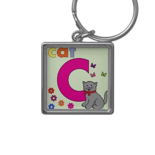 Cat Letter C Key Chains #Alphabet #Kids #Keychain