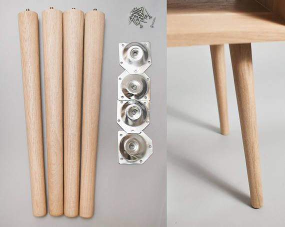 4 X Tapered Oak Legs 40cm In Length For Furniture With Or Without Mounting Plates Very High Quality Made Fro Furniture Legs Wood Table Legs Solid Oak Furniture