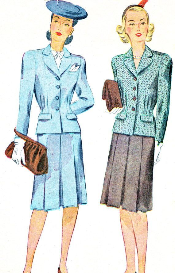 1940s Womens Suit Pattern Simplicity 4769 Pleated Skirt Jacket Two