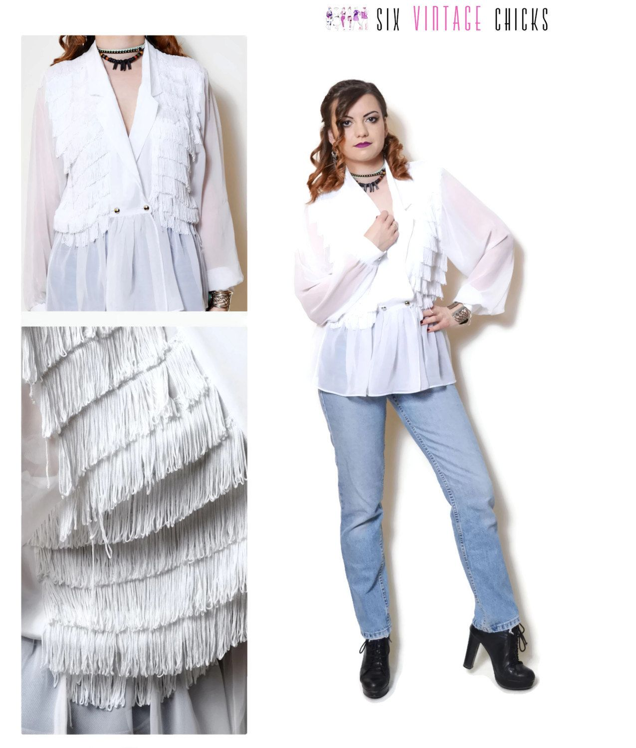 cbebd0056f3ae2 fringe shirt women sexy tops white blouse 80s clothing hippie blouse long sleeve  shirt button down bohemian seethrough boho chic Size M by SixVintageChicks  ...