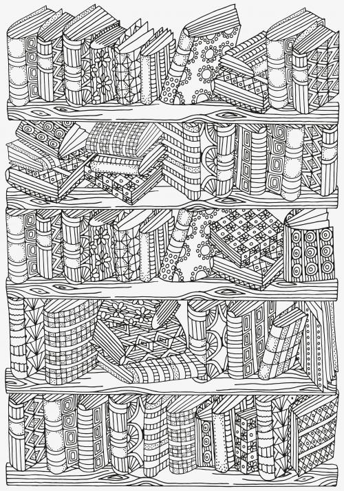 Bookshelf Doodle Coloring Kidspressmagazine Com Coloriage Coloriage Zen Livre De Couleur