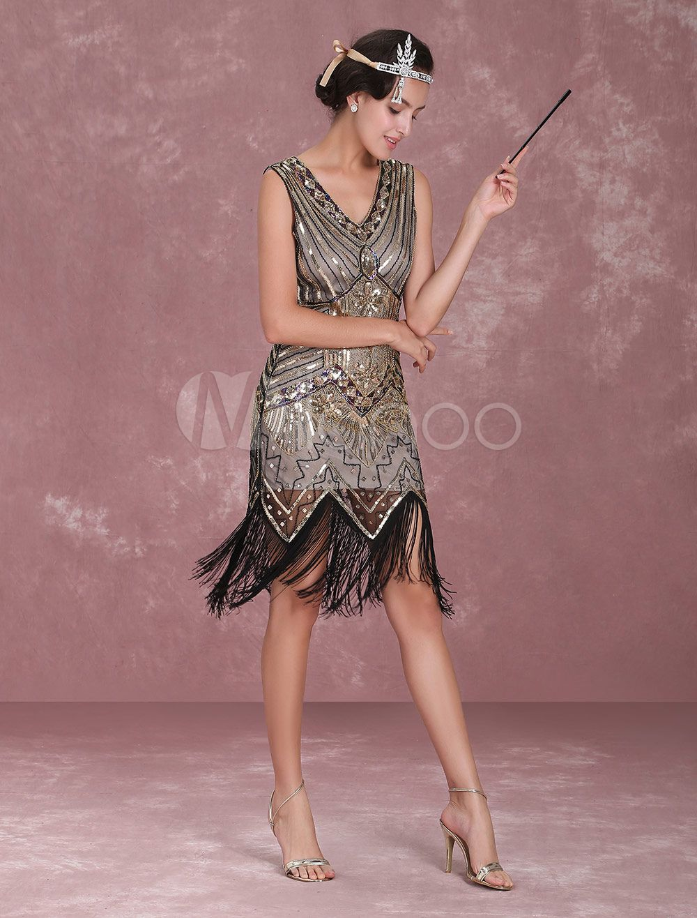 1cd5c75f2a0aac Great Gatsby Flapper Dress 1920s Vintage Costume Women's Apricot Sequined  Tassels Dress Halloween