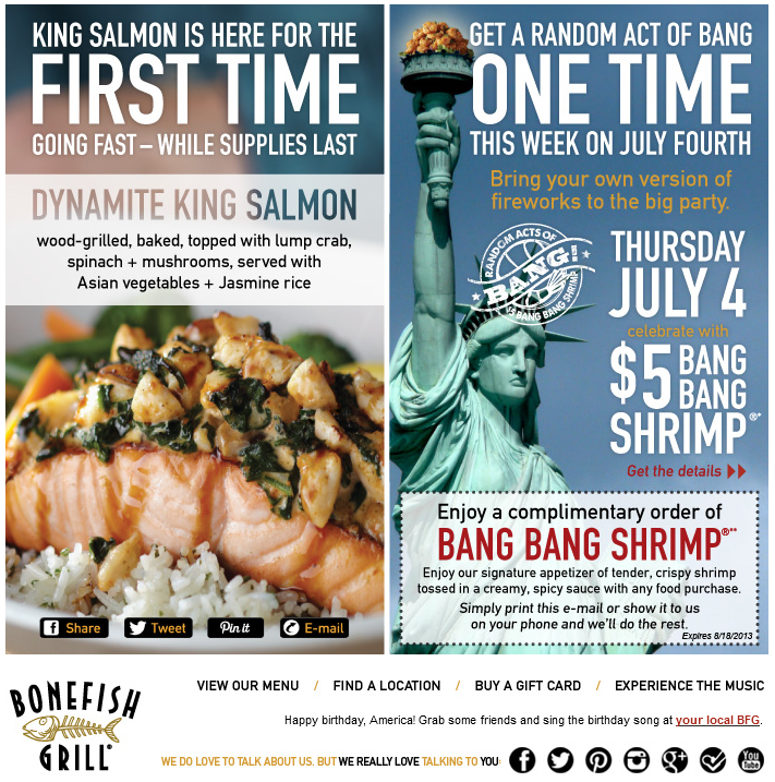 photo about Bonefish Grill Printable Coupon known as Pinned July 6th: Bang bang shrimp appetizer free of charge at Bonefish