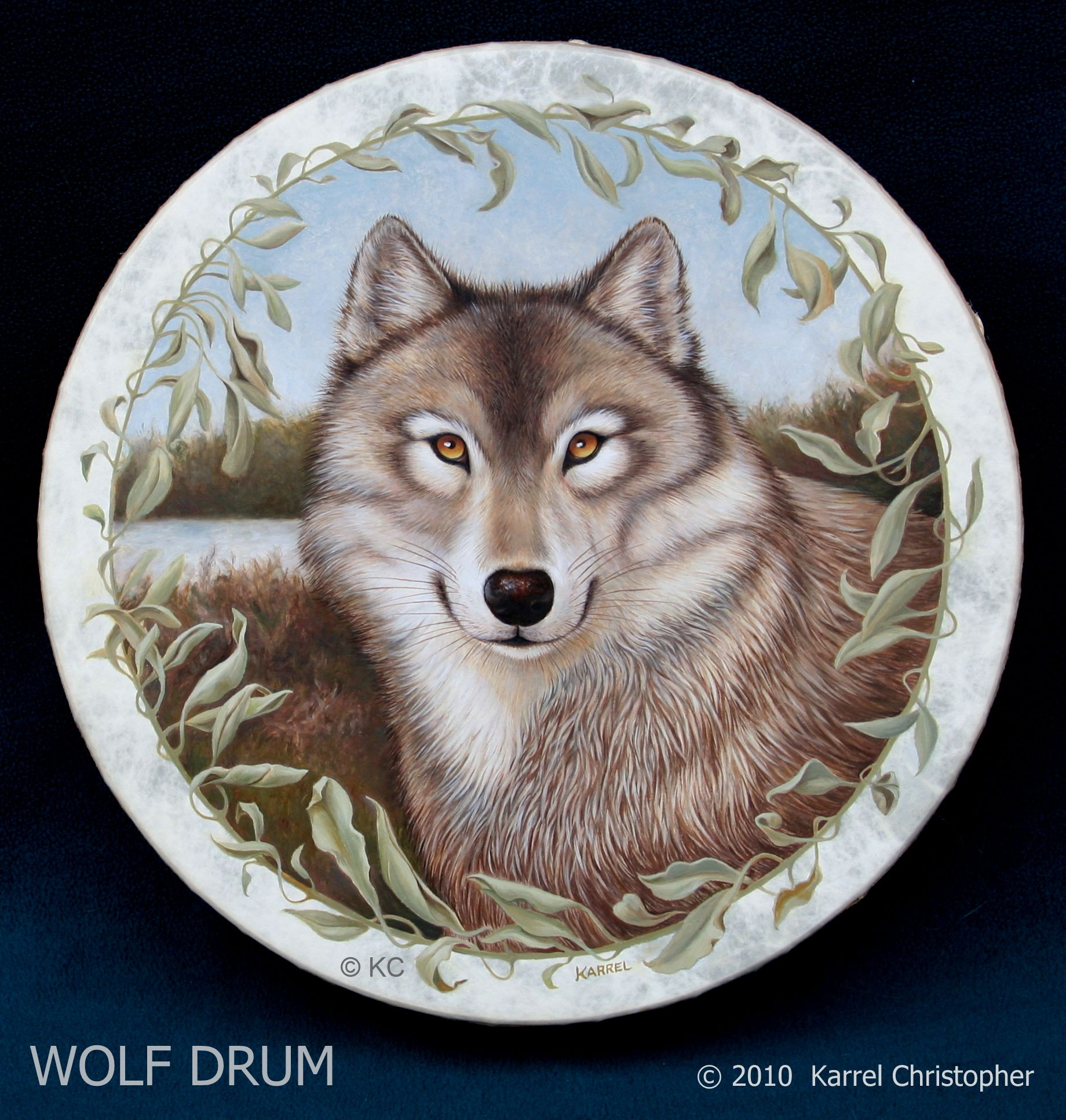 "WOLF DRUM I ~ 16"" by © Karrel Christopher ~ SOLD ~ detailed oil paintings on NON-leather FRAME DRUMS ~ Custom Totem Art created on Remo *Fiberskyn* Synthetic head ~ celebrating ANIMALS and NATURE ~ Playable Musical Instruments ~ Ideal for Meditation ~ Drum Ceremonies ~ Fine Art display ~ Sound Healing ~ http://www.karrelchristopher.com/drums-wildlife-a-plants.html ~ simply *Comment* on a design image that interests you to learn more commissioning your personal drum design."