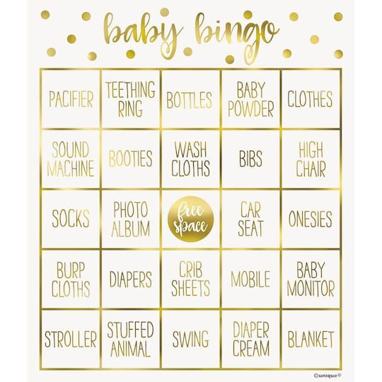 Start up the fun at your baby shower with an activity like our classic Gold Baby Shower Bingo Game. For gold baby shower supplies, shop Michaels. com. Make sure there is no shortage of fun at your baby shower with our Gold