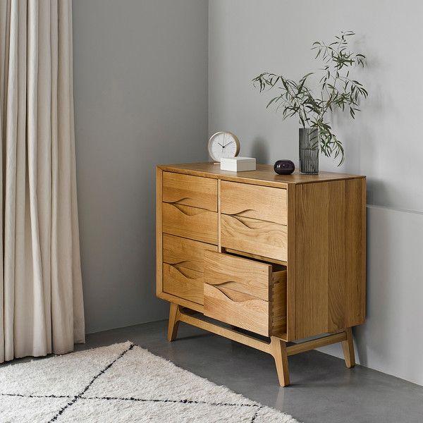 Ellipse Scandi 6 Drawer Chest Oak, Oak Furniture Land Drawer Handles