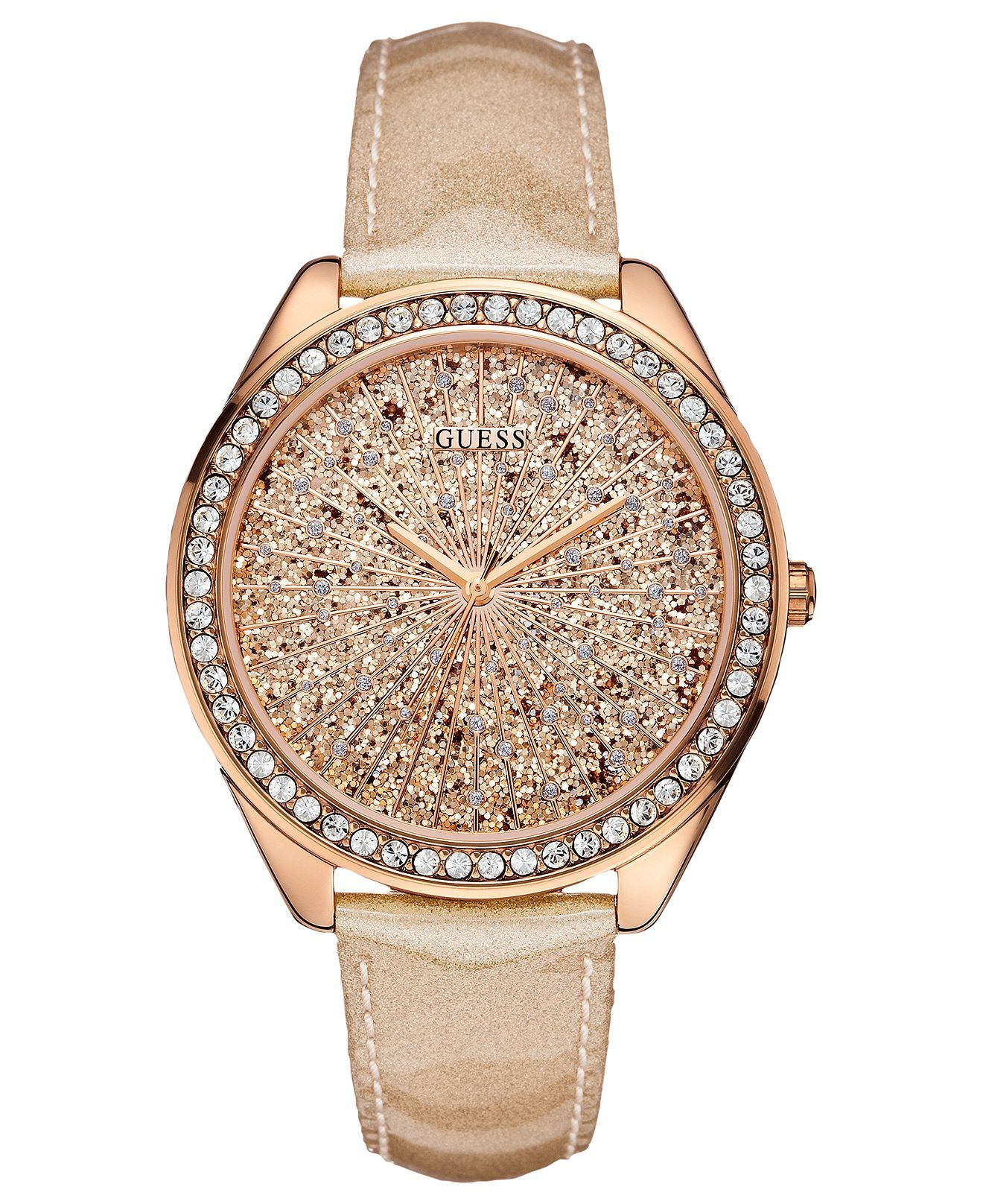 GUESS Watch, Womens Peach Glitter Patent Leather Strap ...