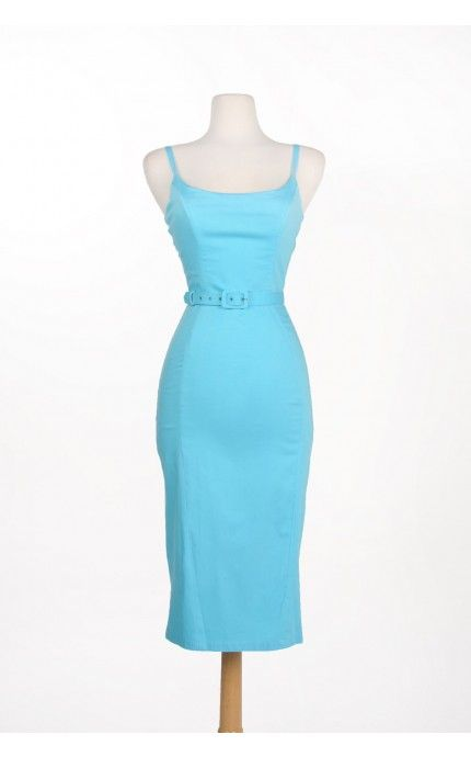 Pinup Couture- Jayne 1960s Sheath Wiggle dress in Baby Blue | Pinup Girl Clothing