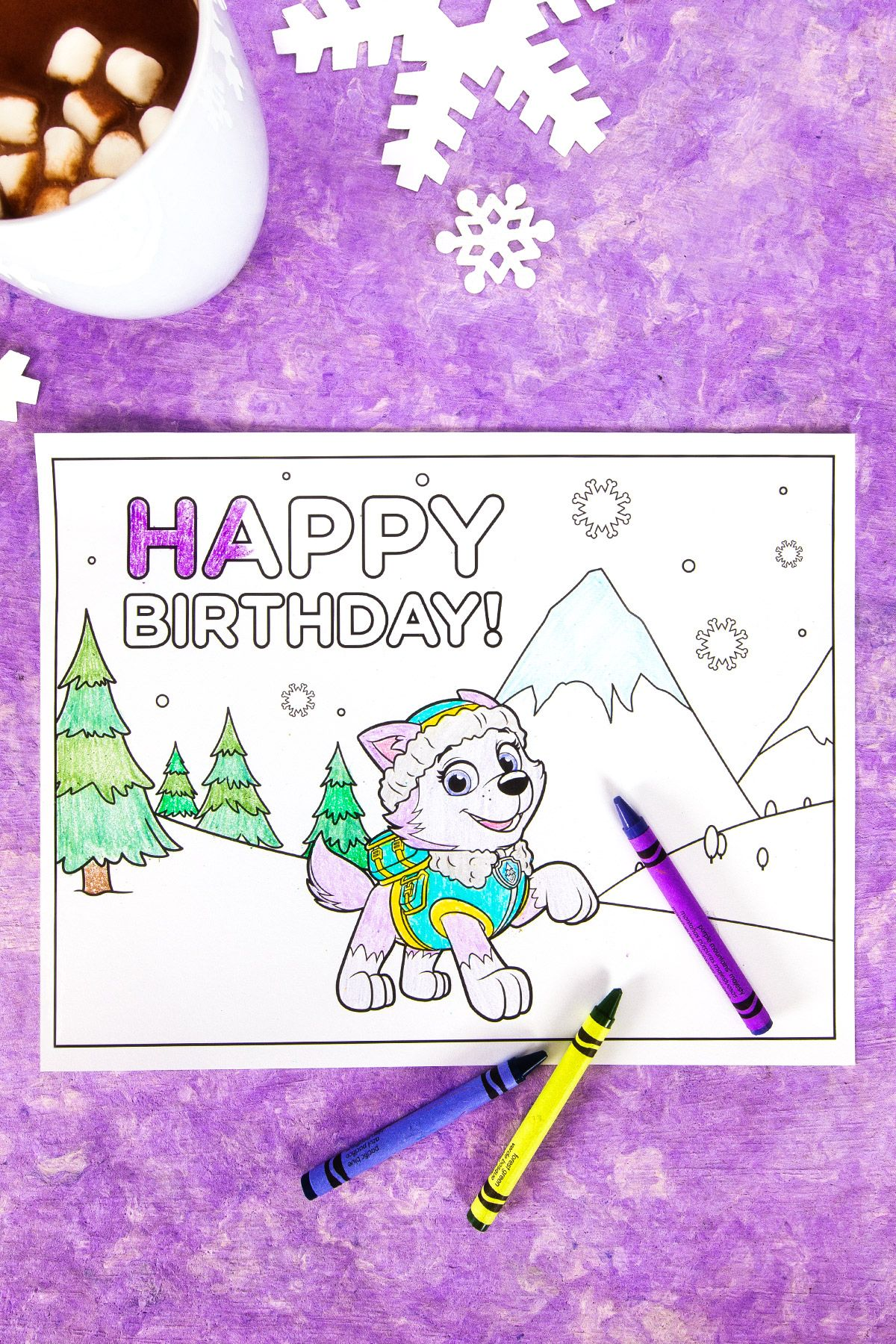 Everest Birthday Party Coloring Page | Birthday coloring ...