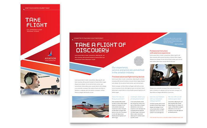 Aviation Flight Instructor Brochure Template Design By StockLayouts Pamphlet