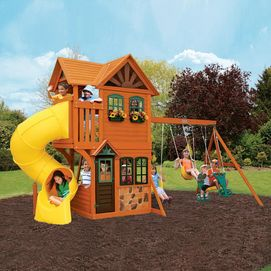 Big Backyard By Solowave Grandview Deluxe Play System House Deck Playground