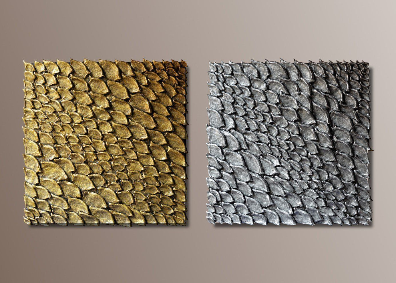Set of 2 Large Wall Sculptures - Square Wall Decor - 3D Wall Art - Golden