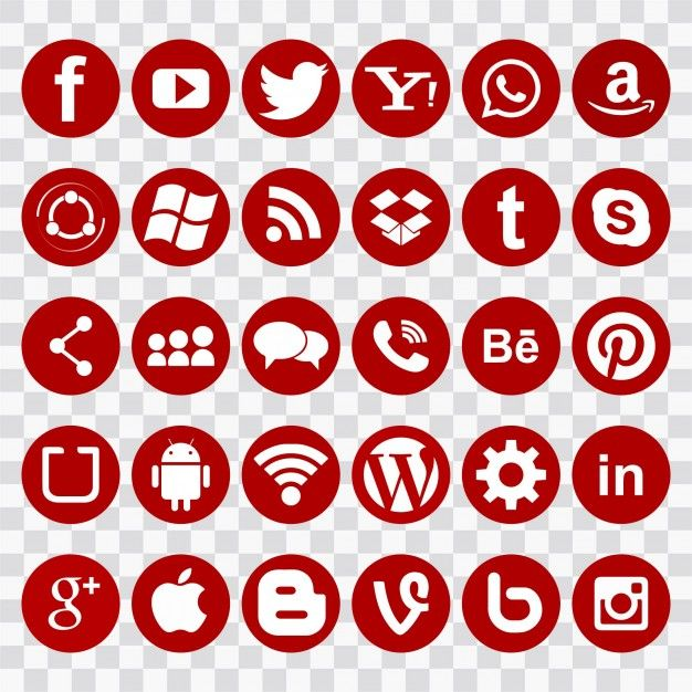 Download Red Icons For Social Networks For Free Computer Icon Network Icon Doodle Pages