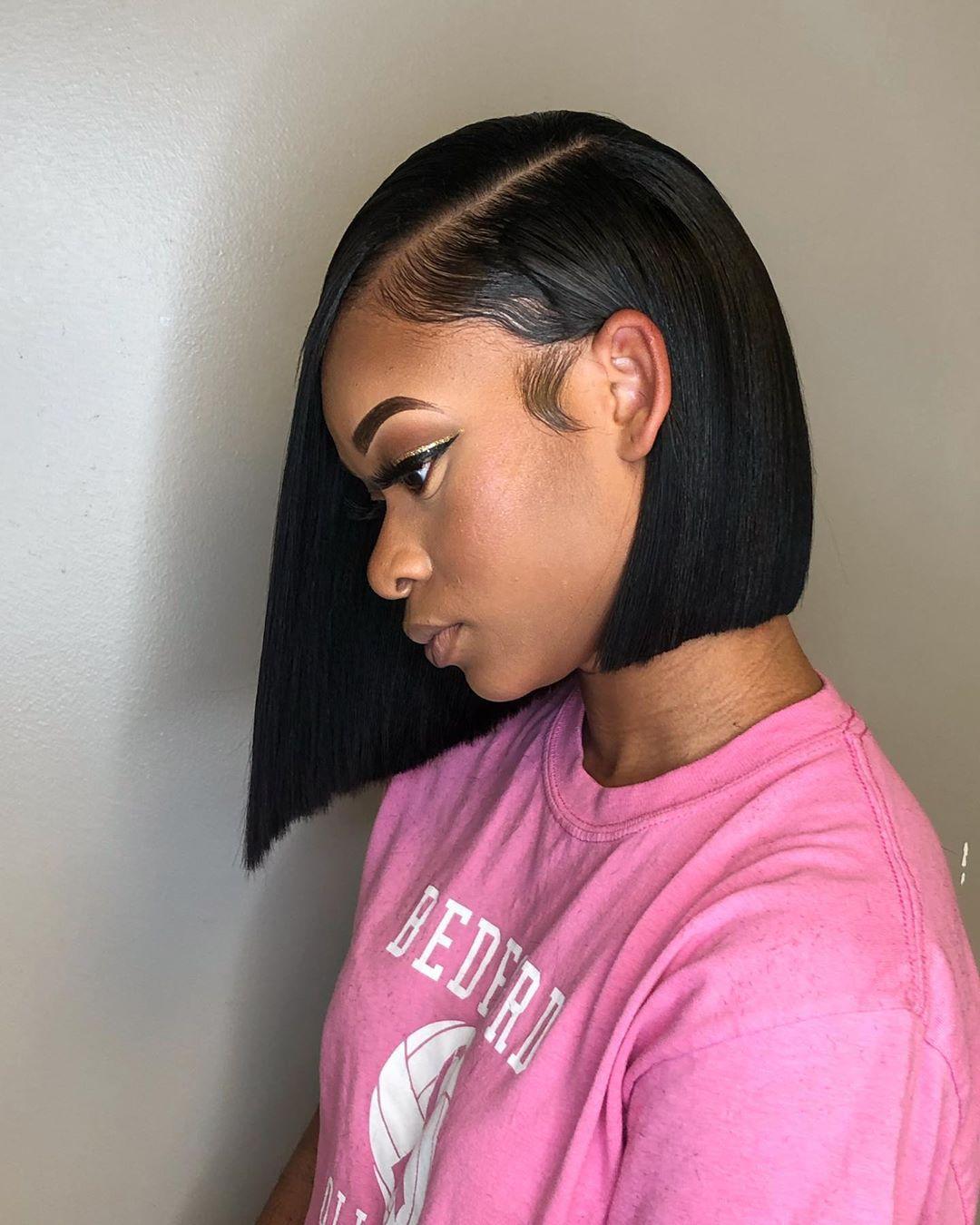 Blunt Asymmetrical Bob For A Prom Girl Hbmj Mjontheslay Bob Bluntcutbob Asymmet Weave Hairstyles Black Women Weave Hairstyles Black Women Hairstyles