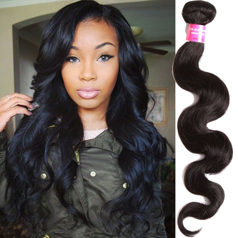 Stylish Black Body Wave Grade A Real Human Hair Extension Natural