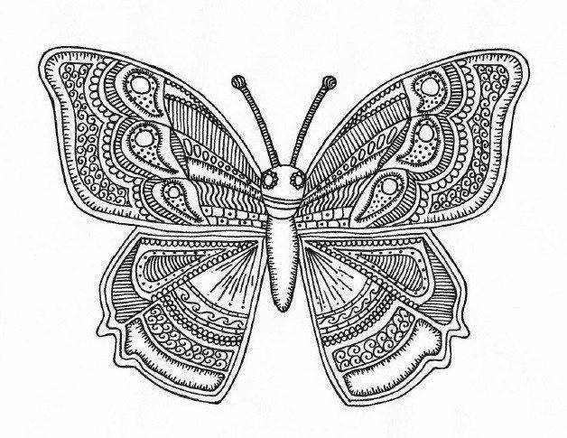 Раскраски-антистресс с изображением бабочек | Раскраски