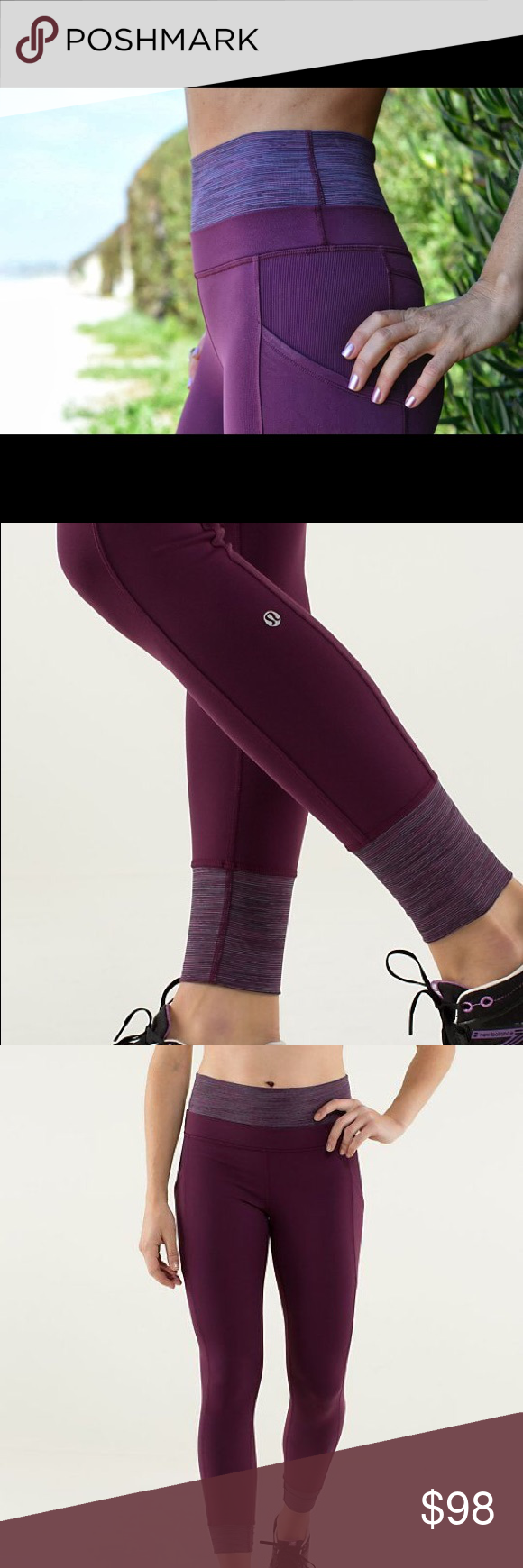 lululemon athletica En Route Crop PLUM size 6 3/4 length crop hardly worn! They are made of luon which is a blend of nylon and lycra. Super comfortable with handy side pockets! lululemon athletica Pants Leggings