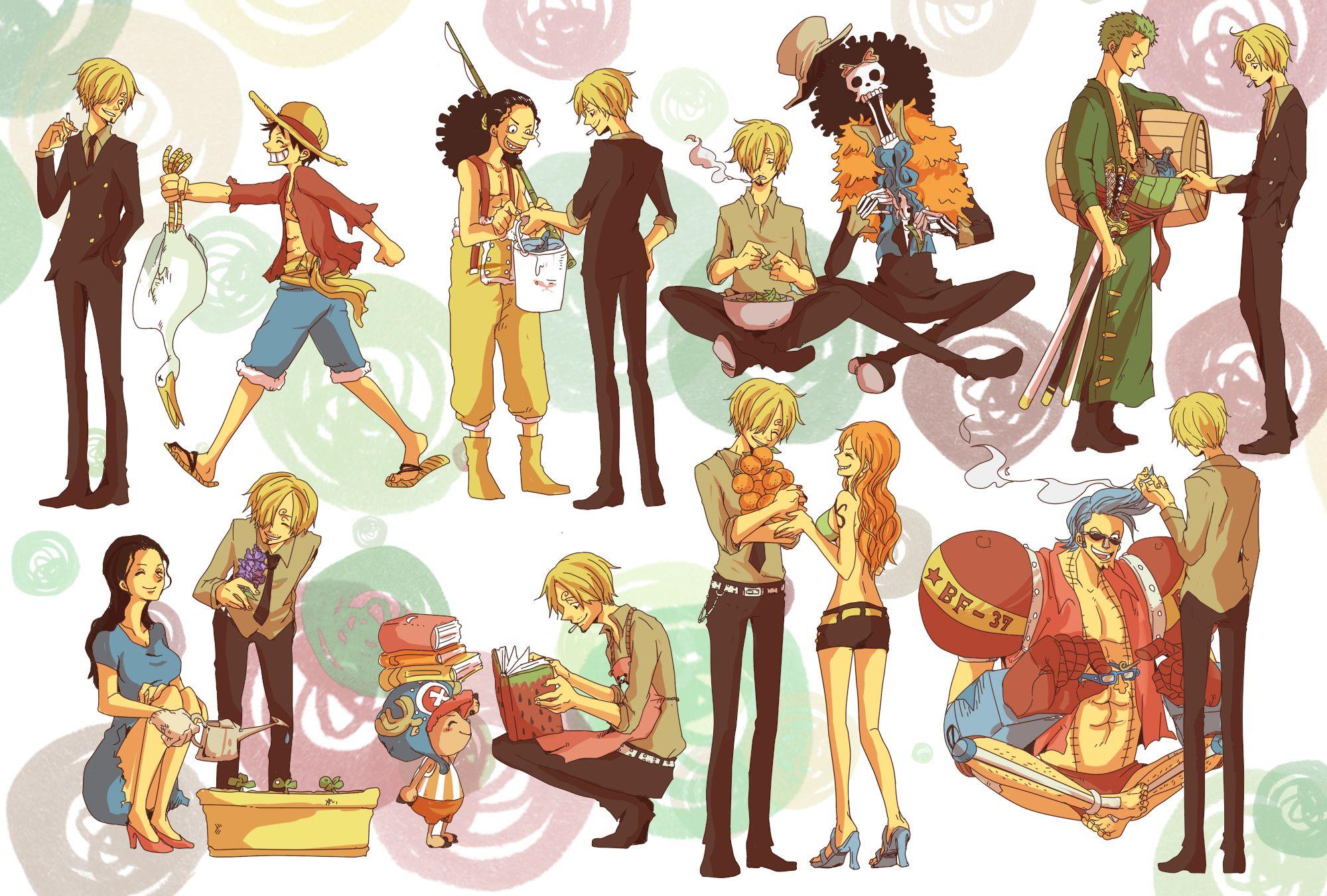 Tags: Fanart, ONE PIECE, Nami, Sanji, Franky, Nico Robin ...